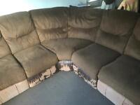 Harveys recliner left corner brown fabric sofa for quick sale only £50