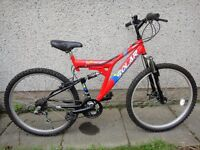 Solar 2.six FT disc DS 26 inch wheels, 18 gears, 19 inch frame, full suspension, excellent conditio