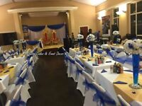 EVENT DECORATIONS. Throne sofa,Centrepiece, chair/table cover/sash, LED love letters forhire