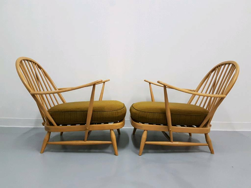 Pair Blonde Ercol 203 Blue Label Retro Vintage Armchair Easy Lounge Chairs 60s