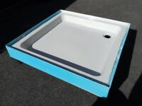 Stone resin shower tray 800mm x 800mm with upstands and adjustable feet