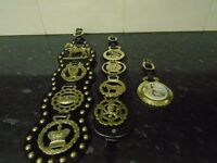 3 leather straps with 9 horse brasses