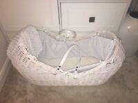 Clair de Lune white Noah Pod Moses basket, perfect condition