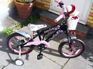 """GIRLS 16"""" WHEEL BIKE WITH NEW FITTED STABILISERS AGE 4-7 great working order"""