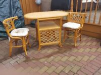Two person wicker table and chsirs