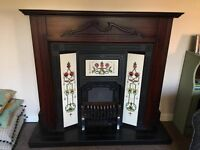 Fireplace, tiled inset electric fire.