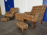 TWO TARTAN FABRIC ARMCHAIRS INC. FOOTSTOOLS & STORAGE OTTOMAN / POUFEE / FIRESIDE CHAIR CAN DELIVER