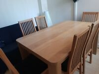 Six black leather chair dining table