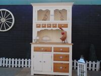 SOLID PINE FARMHOUSE WELSH DRESSER PAINTED WITH LAURA ASHLEY CREAM COLOUR AND WAXED