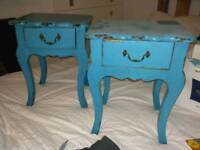 Matching twin bedside tables, distressed shabby chic