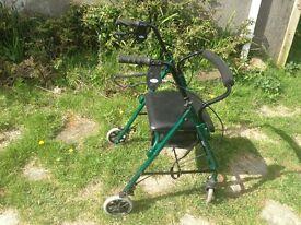 Days Medical Model 102 4 Wheel Walker Walking Aid Folding, Bag & Low Seat