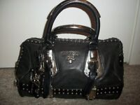 Authentic Prada Black Nappa Leather Studded Trunk Bauletto Totte Bag