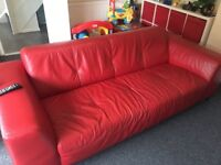 Real leather! Large sofa, chair and storage foot stool