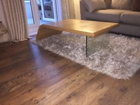 Solid oak coffee table with glass leg! £60 from £400!!!!!