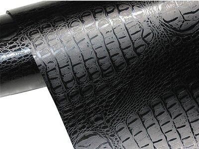 Krokodil Haut Folie 200cm x 152cm crocodile Optik Schwarz / Luftkanäle
