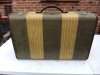 VINTAGE TWEED HAND SHELL SUITCASE WITH LEATHER TRIM IN GOOD CONDITION £28 MORE VINTAGE LUGGAGE 4SALE