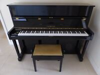 YAMAHA SU118 UPRIGHT PIANO BLACK GLOSS. Pristine condition with footstool.