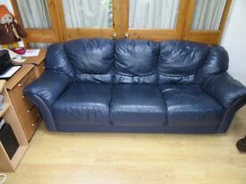 Free navy blue leather settee