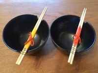 Bowl and chopstick set, of 2