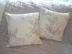 Pair Of Laura Ashley Lilacs Amethyst Cushions Inc Feather Inner Lovely Condition