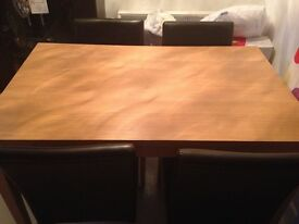 Dining Table & 4 Brown faux leather chairs