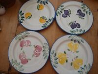 Poole Pottery Hand Painted Dinner Plates (4)