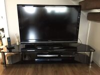 Black glass tv unit and side tables