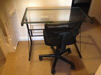 Glass Desk and Rolling chair