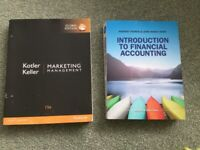 Marketing Management & Financial Accounting Textbooks, used for Business Management degree