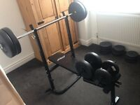 Weight bench, dumbbells, bench bar and various weight plates totalling 92kg