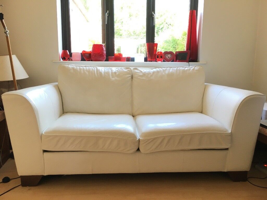 M Amp S Marks And Spencer 2 Urbino White Leather Sofas 1 Is A