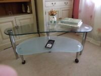 Nest of 2 Glass Tables, Nest of 2 Coffee Tables - one Clear Glass, one Opaque Glass,