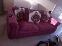 Large Pink Material/Crushed Velvet Pink Sofa