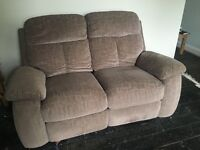 Brown Fabric 2 x 2 seater reclining sofas and storage foot stool