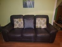 3 seater dark brown leather couch