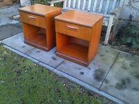 Meredew Retro Teak Pair of Bedside Cabinets