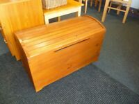 Pine blanket box has been repaired and restained,