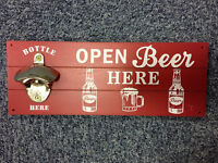Unique Red Beer Sign /Plaque With Bottle Opener on
