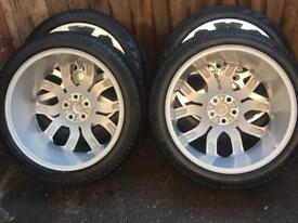 """22"""" GENUINE RANGE ROVER ALLOY WHEELS VOGUE SPORT DISCOVERY HSE SVR TYRES"""
