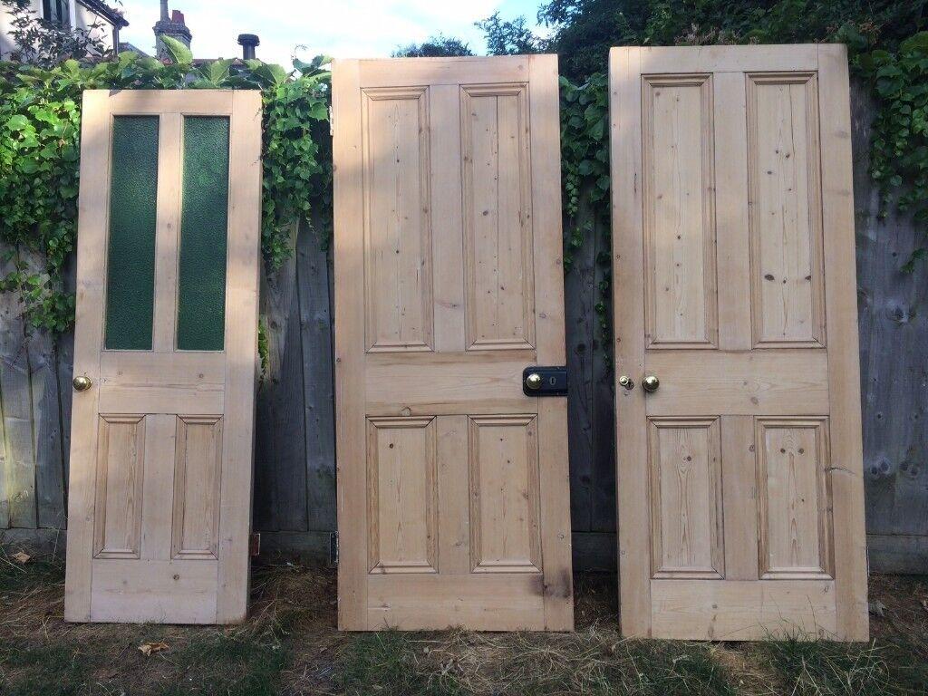 3 x 4 panel antique pine doors with original brass handles - 2 x solid, - 3 X 4 Panel Antique Pine Doors With Original Brass Handles - 2 X