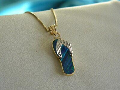 14k Gold Opal Sandal Flip-Flop Pendant Necklace on Box Chain 14k Sandal Pendant