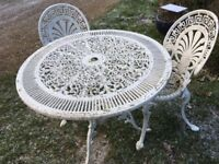 Garden Round Metal Table and 2 Chairs