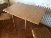Formica Drop Leaf Dining Table with Stools