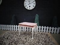 OLD PINK VELVET DRESSING TABLE STOOL IN VERY GOOD CONDITION 58/39/44 cm £15