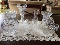Assorted cut glass vases and bowls, 7 pieces