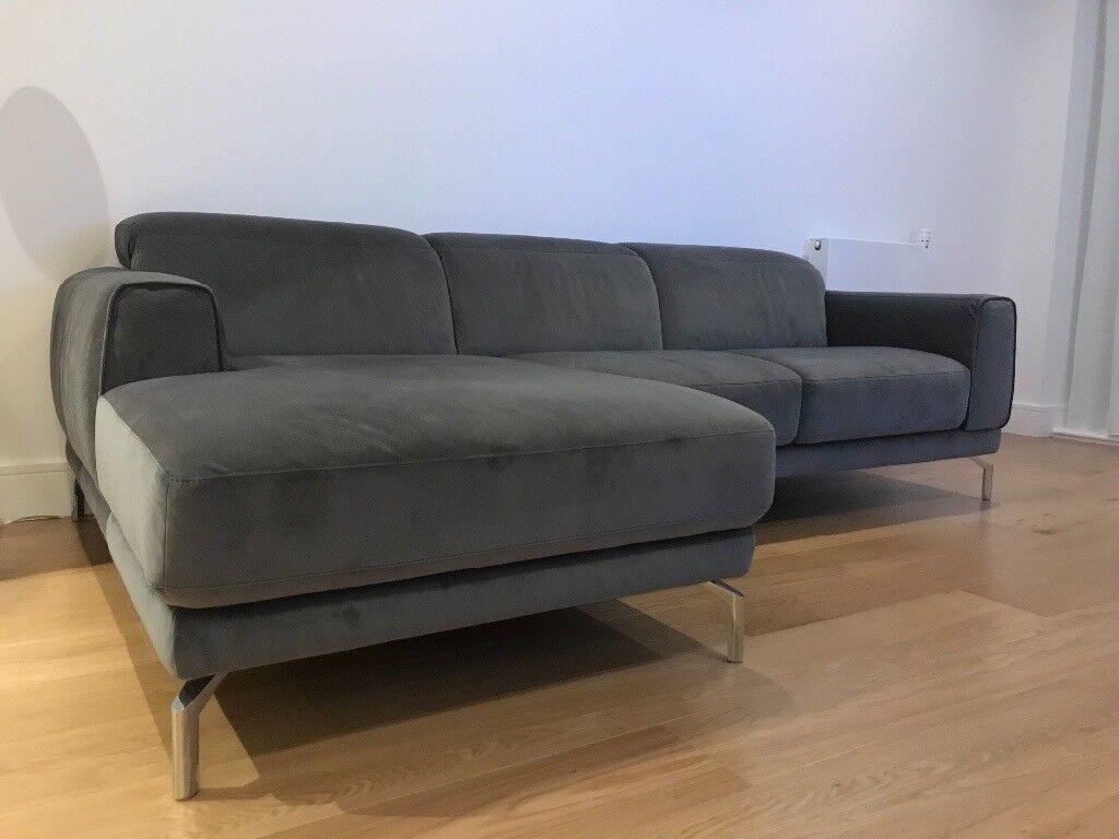 Miraculous Natuzzi Quadro 2 Seater Chaise Sofa Grey Velvet In Kingsbury London Gumtree Andrewgaddart Wooden Chair Designs For Living Room Andrewgaddartcom