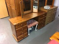 PINE DRESSING TABLE WITH MIRROR AND A STOOL