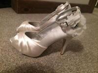 Wedding Ivory satin corsage diamonte shoe sandal Next brand new size 7
