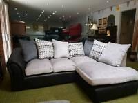 **NEW** Stunning grey and black corner sofa