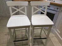 Two Cream IKEA Breakfast Bar stools with backrest.